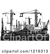 Clipart Of Woodcut Cranes And Rigs In Black And White Royalty Free Vector Illustration