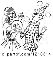 Cartoon Of A Young Couple Dancing At A Halloween Costume Party In Black And White Royalty Free Vector Clipart