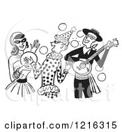 Cartoon Of A Banjo Player Gypsy And Clown Having Fun At A Halloween Costume Party In Black And White Royalty Free Vector Clipart