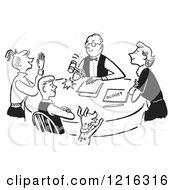Cartoon Of A Retro Happy Family Having A Meeting About The Budget In Black And White Royalty Free Vector Clipart