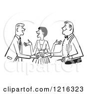 Cartoon Of A Retro Lady Politely Introducing Two Men In Black And White Royalty Free Vector Clipart