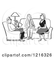 Cartoon Of A Retro Nervous Teenage Boy Being Grilled By The Parents Of His Date In Black And White Royalty Free Vector Clipart by Picsburg