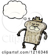Cartoon Of Sliced Cowboy Bread Thinking Royalty Free Vector Illustration by lineartestpilot