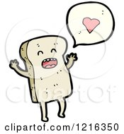 Cartoon Of Sliced Bread Speaking About Love Royalty Free Vector Illustration by lineartestpilot