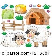 Clipart Of Happy Sheep And Barnyard Items Royalty Free Vector Illustration