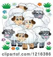 Clipart Of A Happy Flock Of Sheep Royalty Free Vector Illustration by visekart