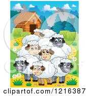 Clipart Of A Happy Flock Of Sheep In A Barnyard Royalty Free Vector Illustration