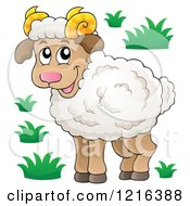 Clipart Of A Standing Happy Ram Sheep Royalty Free Vector Illustration by visekart