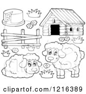 Clipart Of Outlined Happy Sheep And Barnyard Items Royalty Free Vector Illustration