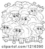 Clipart Of An Outlined Happy Flock Of Sheep Royalty Free Vector Illustration