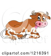 Clipart Of A Resting Dairy Cow Royalty Free Vector Illustration