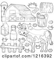 Outlined Happy Cow With A Dairy Barn And Items