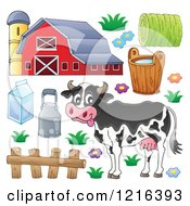 Happy Cow With A Dairy Barn And Items
