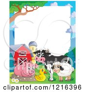Happy Pig Cow Duck And Sheep By A Mud Puddle Border