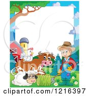 Happy Farmer Sheep Cow And Chicken Border