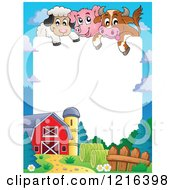 Happy Cow Pig And Sheep Over A Barnyard Border
