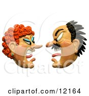 Clay Sculpture Clipart Couple Screaming At Each Other Royalty Free 3d Illustration