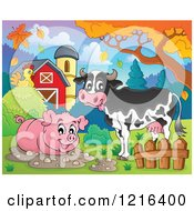 Happy Cow And Pig In A Mud Puddle In Autumn