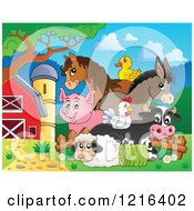 Clipart Of A Happy Duck Horse Donkey Pig Chicken Cow And Sheep With Hay In A Barnyard Royalty Free Vector Illustration by visekart