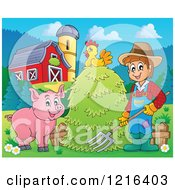 Happy Farmer With Hay A Pig And Chicken In A Barnyard