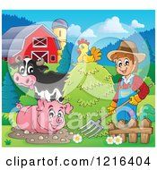 Happy Farmer With Hay A Chicken Cow And Pig In A Barnyard