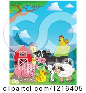 Happy Cow Pig Duck Sheep And Chicken In A Barnyard