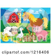 Happy Duck Goose Sheep Pig And Horse By A Pond In A Barnyard