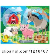 Happy Duck Sheep Pig And Donkey By A Puddle In A Barnyard