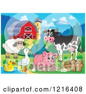 Clipart Of A Happy Cow Sheep Pig Duck And Goose In A Barnyard Royalty Free Vector Illustration by visekart