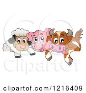 Clipart Of A Happy Cow Pig And Sheep Over A Border Royalty Free Vector Illustration by visekart