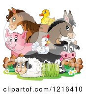 Clipart Of A Happy Chicken Horse Donkey Pig Duck Cow And Sheep By A Fence Royalty Free Vector Illustration
