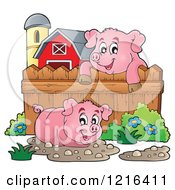 Happy Pigs With Mud Puddles In A Barnyard