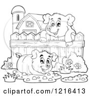 Outlined Happy Pigs With Mud Puddles In A Barnyard