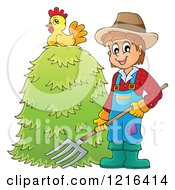 Clipart Of A Happy Farmer Holding A Pitchfork By A Pile Of Hay With A Chicken On Top Royalty Free Vector Illustration