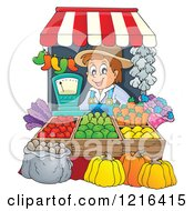 Clipart Of A Happy Farmer Selling Produce At A Stand Royalty Free Vector Illustration by visekart