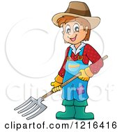 Clipart Of A Happy Farmer Boy Holding A Pitchfork Royalty Free Vector Illustration by visekart