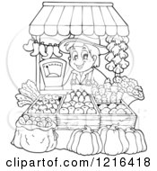 Clipart Of An Outlined Farmer Selling Produce At A Stand Royalty Free Vector Illustration