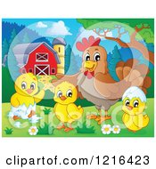 Clipart Of A Chicken And Hatching Chicks In A Barnyard Royalty Free Vector Illustration