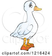 Clipart Of A Happy White Goose Royalty Free Vector Illustration by visekart