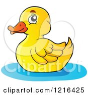 Clipart Of A Floating Yellow Duck Royalty Free Vector Illustration by visekart