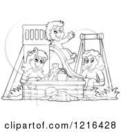 Clipart Of Outlined Happy Children Playing On A Swing Slide And In A Sandbox Royalty Free Vector Illustration