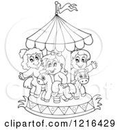 Clipart Of Outlined Children Playing On A Carousel Royalty Free Vector Illustration