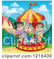 Clipart Of Kids Playing On A Carousel Royalty Free Vector Illustration