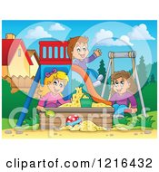 Clipart Of Children Playing On A Swing Slide And In A Sandbox Royalty Free Vector Illustration by visekart