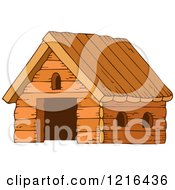 Clipart Of A Wooden Barn Royalty Free Vector Illustration