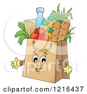 Clipart Of A Grocery Bag Mascot Full Of Food Royalty Free Vector Illustration