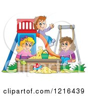 Happy Children Playing On A Swing Slide And In A Sandbox