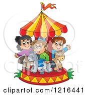 Clipart Of Children Playing On A Carousel Royalty Free Vector Illustration by visekart