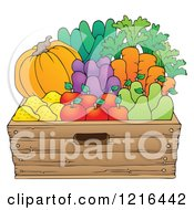 Clipart Of A Wood Container Full Of Fresh Produce Royalty Free Vector Illustration