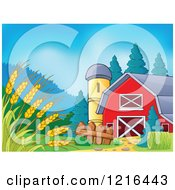 Clipart Of A Barn And Silo With Wheat In The Foreground Royalty Free Vector Illustration by visekart